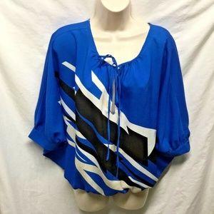 New York & Co Womens Sz S Tunic Tie Collar Blue B